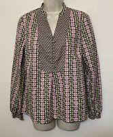 Boden Size 14 Shirt Brown & Pink Long Sleeve Button Up V-Neck Cotton Boho Blouse