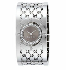 Gucci Quartz, Silver Stainless Steel Band Brown Dial Women's Watch YA112416