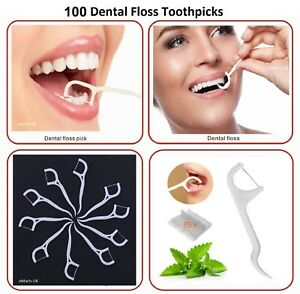 100 Pc Dental Floss Sticks Tooth Picks 2-In-1 Teeth Plaque Remover Inter-Dental