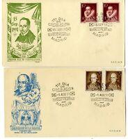 2 Sobres primer dia España 1951 Literatos First day Spain