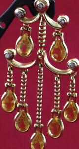 "14KT Solid Yellow Gold Chandelier Dangle Earrings Citrine Diamonds 9g 1.75""x.75"""