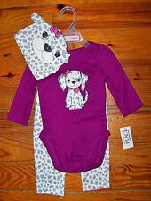 New Girls THE CHILDREN'S PLACE 3pc Purple Gray White Puppy Dog Outfit 3-6 Months