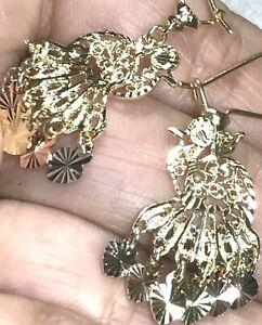 "GOLD peacock earring 14k Solid Real chandelier Gypsy Filigree dangle long 1.50"""