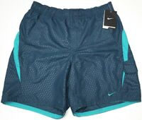 NWT $44 NIKE Mens Swim Suit Trunks Green Geometric Swoosh Logo Sheds Water NEW