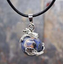 Sodalite Stone Dragon Ball Pendant Necklace Reiki Healing Chakra Gem Gift