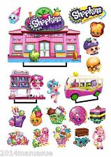 2  A4 PRECUT SHOPKINS STAND UP EDIBLE CAKE SCENE WAFER CARD PARTY CUPCAKE TOPPER