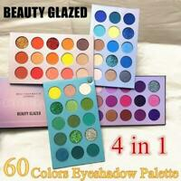 60 Colors BEAUTY GLAZED 4 In 1 Color Board Eyeshadow Palette Long Lasting E4F6
