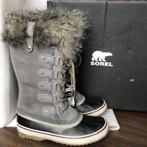 NIB Sorel Women's Joan of Arctic Waterproof Winter Boots Fur Quarry Black Gray