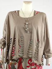 Shirt Tunika kurz Gr.42 - 54 one size Designer Lagenlook Einschnitte Taupe NEU w