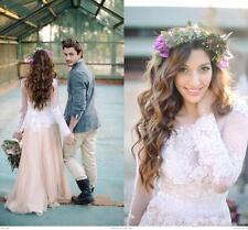 Neu Rosa Vintage Spitze Brautkleid Abendkleid Ballkleid Langarm Hochzeitskleider