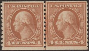 1917 #495 4¢ WASHINGTON, PERF 10 VERTICALLY, VF MINT NEVER HINGED LINE PAIR $160