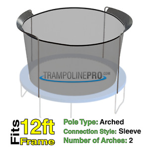 12' Round Replacement Safety Net with sleeves for 2 Arch Pole Systems NET ONLY