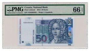 CROATIA banknote 50 KUNA 2012. PMG MS-66 EPQ