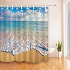 New Custom Waves & beach Waterproof fabric Bathroom Shower Curtain 72x72 in new