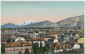 VERY NICE RARE POSTCARD - GENERAL VIEW GENEVE AND MONT BLANC  SWITZERLAND C.1913