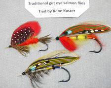 """3 large gut eye classic salmon flies by Rene Koster up to 2-1/2"""" long 4 display"""