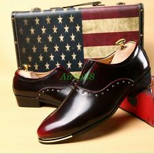 Vintage Men's Leather Pointy Toe Casual Pull On Oxfords Dress Shoes Formal Wear