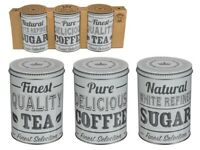 Round Storage Metal Retro Coffee Tea Sugar Tins Set of 3 White & Grey Design