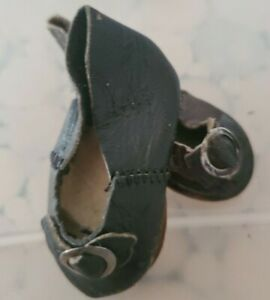 """Antique 2"""" Doll Shoes German leather for German French Bisque dolls"""