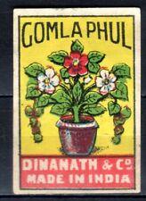 MATCHBOX LABELS-INDIA. Gomla phul (flower pot) ,  Dinanath & Co