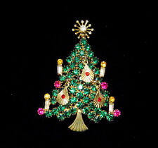 VINTAGE ST. LABRE CHRISTMAS TREE PIN w/dangles, book piece