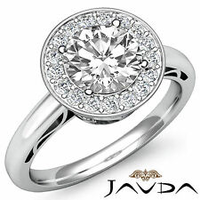 Lustful Round Diamond Halo Pave Engagement Ring GIA H SI1 14k White Gold 1.36 ct