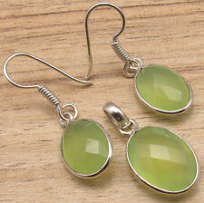 925 Silver Plated Natural GREEN SEA CHALCEDONY Earrings & Pendant Jewelry SET