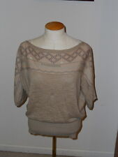 SPARROW ANTHROPOLOGIE BROWN SHORT SLEEVE WIDE NECK PULLOVER SWEATER SIZE M