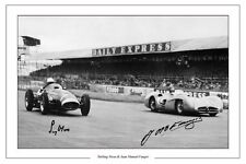 JUAN MANUEL FANGIO & STIRLING MOSS FORMULA ONE AUTOGRAPH SIGNED PHOTO PRINT F1