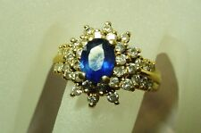 BEAUTIFUL 14K SAPPHIRE & DIAMOND COCKTAIL RING 3.6 GRAMS SIZE 5.5
