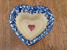 Alpine Pottery Roseville Ohio, Heart Shaped Bowl, Blue Sponge, Heart Shaped