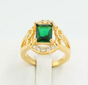 New Pretty Jewellery Natural 3.08ct Emerald 14k Solid Yellow Gold Ring Size 6.5