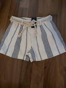 BNWT RALPH LAUREN POLO trendy ladies rope Belted stripe shorts100% Linen US4UK8