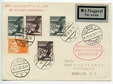 Austria Zeppelin 1930 Sgr 54  Bonn flight plain card to Berlin red cachet