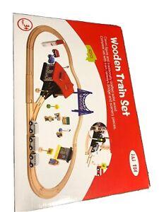 Wooden 40 Pcs Busy City & Train Set Railway Track Toy Brio Bigjigs Compatible