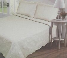 3 Piece Embroided Quilt Set Full/Queen Size Island Leaves Ivory