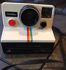 VTG Polaroid SX-70 One Step White Rainbow Stripe Instant Land Camera Instagram