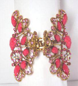 Beautiful Jeweled Metal Hair Clip in Pink Elegant Hair Fashion New 09