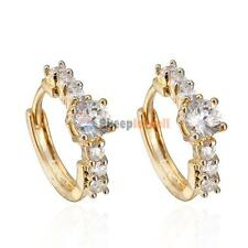2017 Fashion 18K Gold Plated Filled White Crystal Womens Charming Hoop Earrings