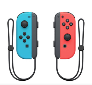 Brand New Joy Con Controllers Neon Blue & Red W/ STRAPS for the Nintendo Switch