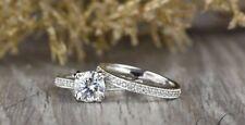 Bridal Ring Set 14k White Gold Finish 7 mm Cushion Halo Moissanite Wedding Band
