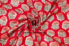 Red Cotton Voile Indian Craft Sewing Supply Hand Block Print Fabric By The Metre