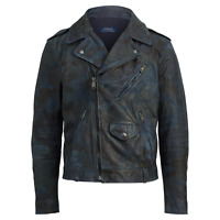 Polo Ralph Lauren Mens Blue Indigo Camo Italy Leather Vintage Biker Moto Jacket