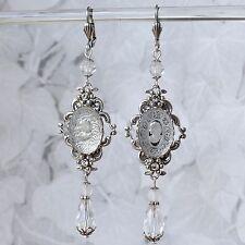 Ohrschmuck Glaskamee Ohrringe Messing versilbert Glasstein *cameo kristall klar