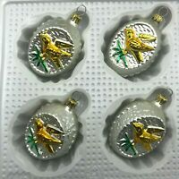 Gold Bird Christmas Ornaments Egg Shaped Blown Glass Germany Set of 4