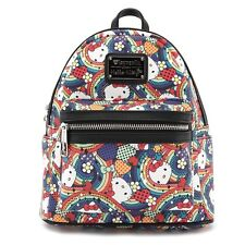 New LOUNGEFLY SANRIO School Bag Backpack HELLO KITTY Faux Leather Rainbow Dots