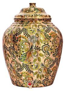 Printed Design Copper Water Dispenser Pot Matka Storage 10 L Brown