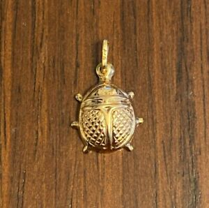 NEW 9ct Yellow Gold Lady Bug Charm 375 Lucky Pendant 9K 9KT Insect Luck Fortune
