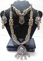NW KUCHI TRIBAL OXIDIZED LONG NECKLACE BELLY DANCE VINTAGE JEWELRY AFGHAN GYPSY