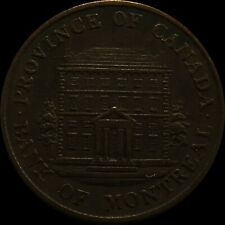 1844 Province of Canada Bank of Montreal 1/2 Half Penny Bank Token - Low Mintage